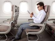 man sits on airplane