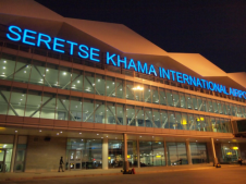 Outside the front of Sir Seretse Khama International Airport at night