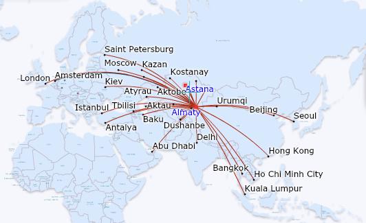 Air Astana Route Map