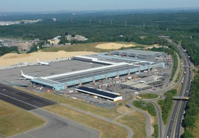 Aerial view of Luxembourg Findel Airport's runway