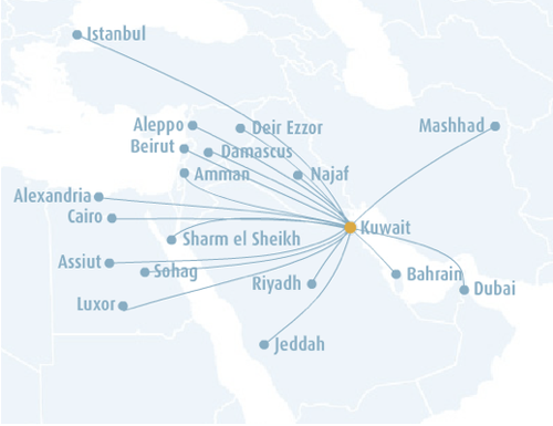 Jazeera Airways route map
