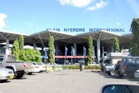 Outside the front of Julius Nyerere International Airport