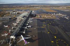 Birds-eye view of the runway at Oslo Airport Gardermoen