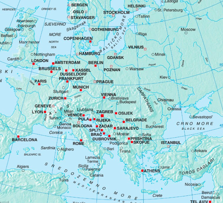 Croatia Airlines Route Map