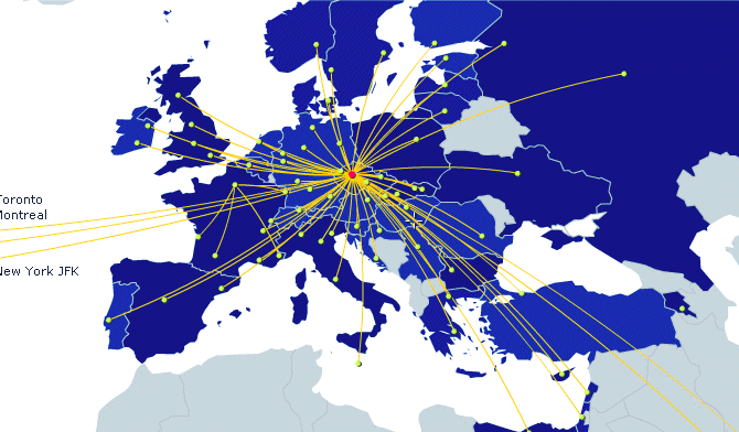 Czech Airlines route map