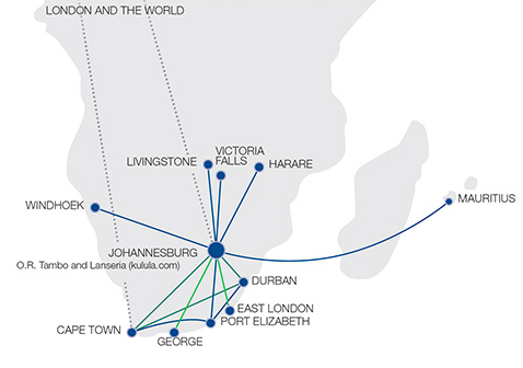 Comair route map