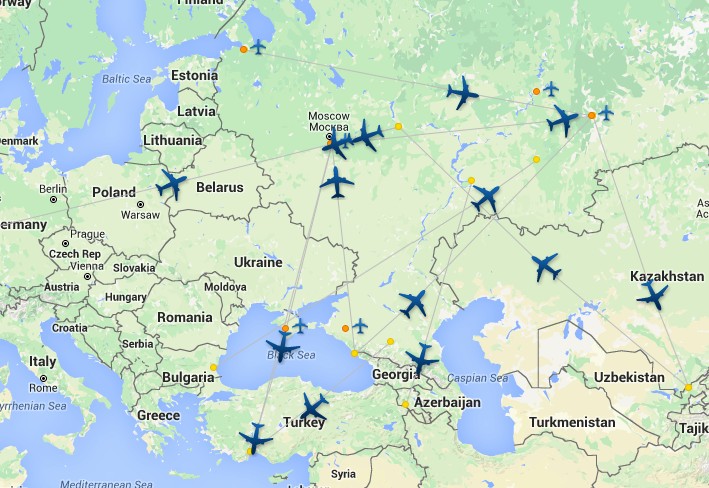 ural airlines route map