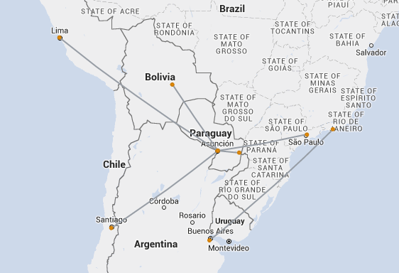 tam airlines paraguay route map