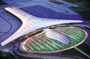aerial view of Beijing capital airport