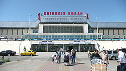 Outside of the front of Chinggis Khaan International Airport