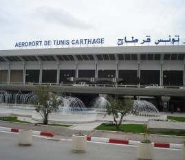 External view of Tunis Carthage airport in Tunisia