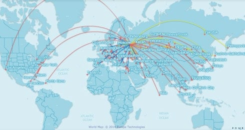 Aeroflot route map