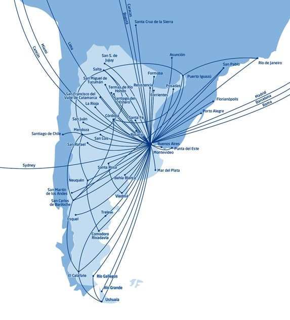 Aerolineas Argentinas Route Map