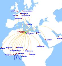 afriqiyah airways destinations route map