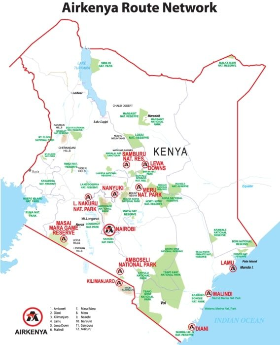 Airkenya route map