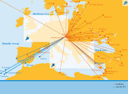 Austrian Airlines Route Map