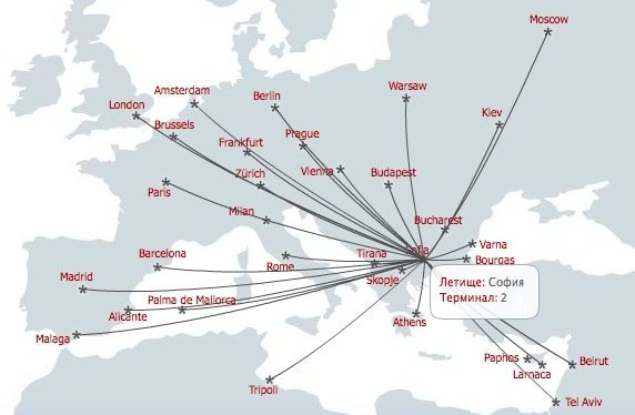 Bulgaria Air route map