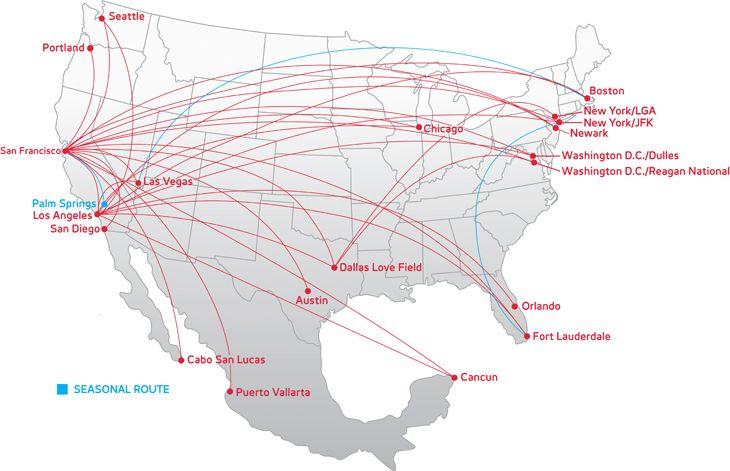 Virgin America Route Map Virgin America | Book Flights and Save Virgin America Route Map