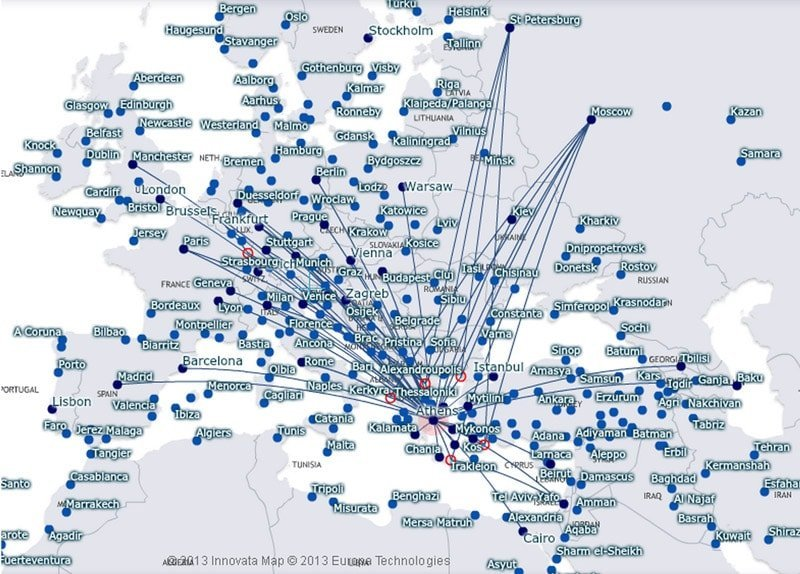 Aegean Airlines route map