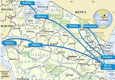 Mapa de Ruta  de Air Tanzania