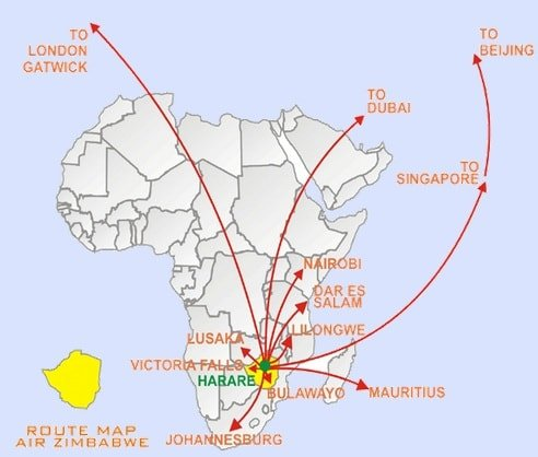 Air Zimbabwe Route Map