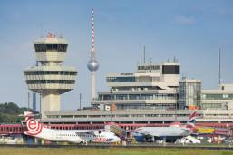 Outside of Berlin Tegel Airport from a distance