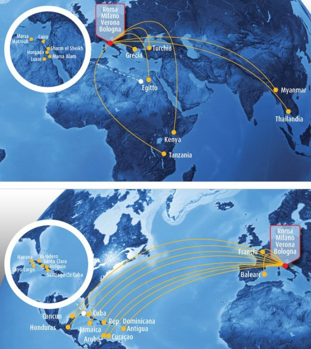 Blue Panorama Airlines Route Map