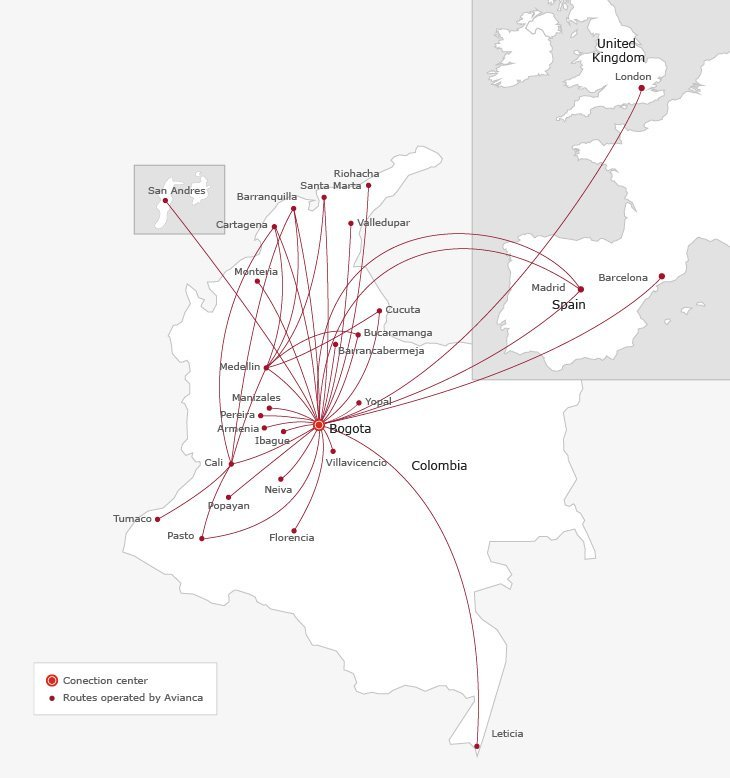 Avianca route map in Europe