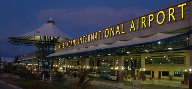 Grantley Adams International Airport from the outside at night