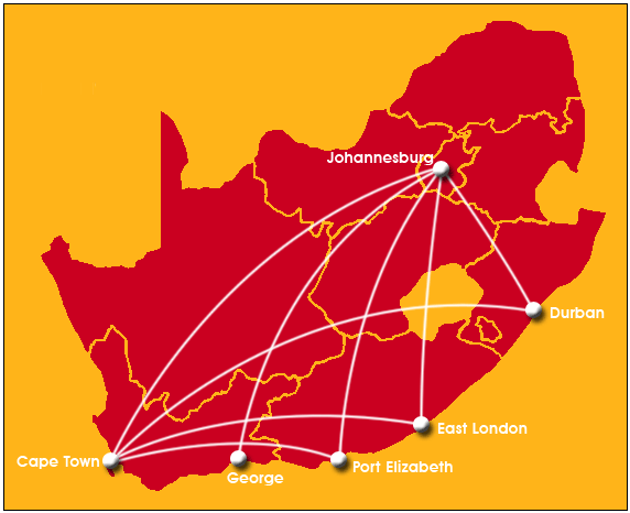 Mango Airlines Route Map