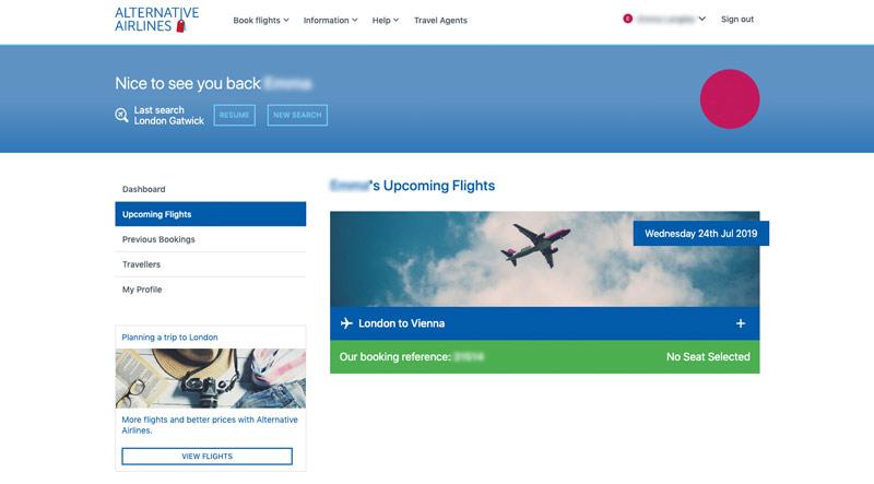 Step 3 My account upcoming flights tab