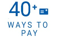40 + ways to pay text with blue font