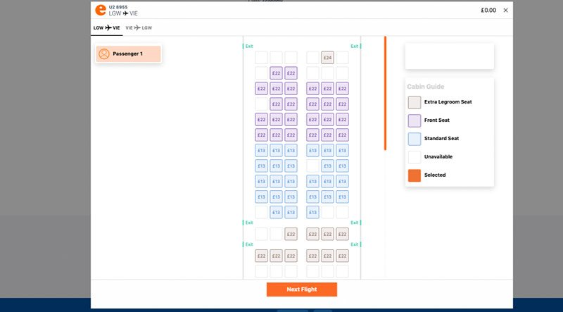 Step 5 seat selection map