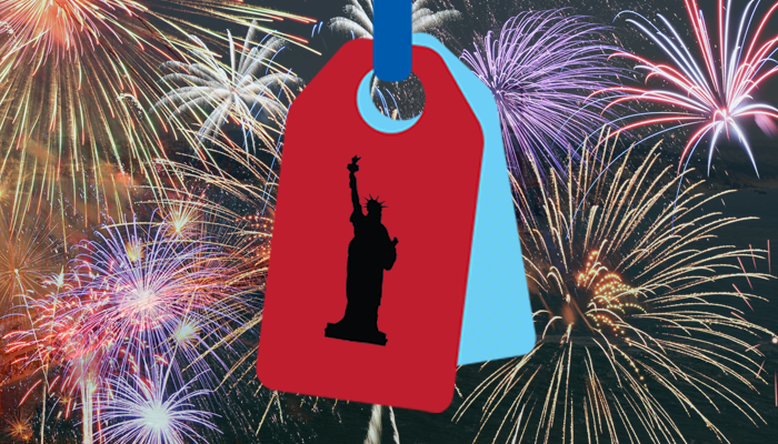 red and blue tag with liberty shadow overlaid and multi-coloured fireworks in background