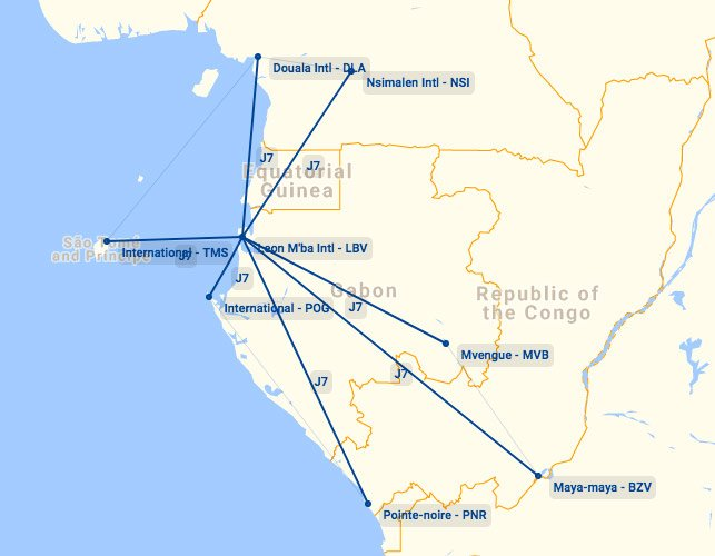 Afrijet Business Service Route Map