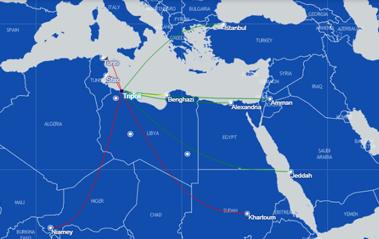 Afriqyah airways route map