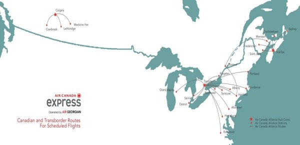 Route map Air Canada Express