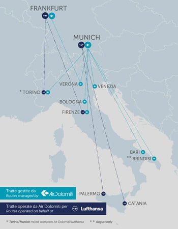 Air Dolomiti Route Map