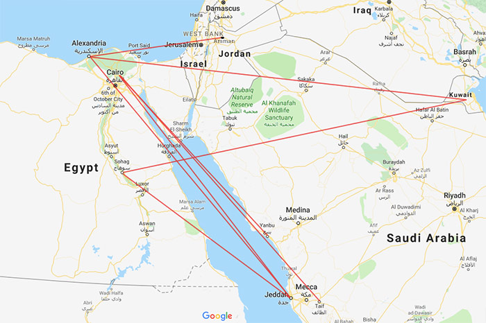 Air Go Egypt route map