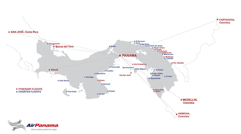 Air Panama route map