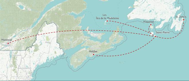 Route Map of Air Saint-Pierre