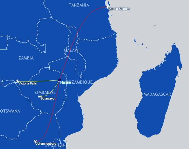 Air Zimbabwe Route Map focused on Harare, Zimbabwe