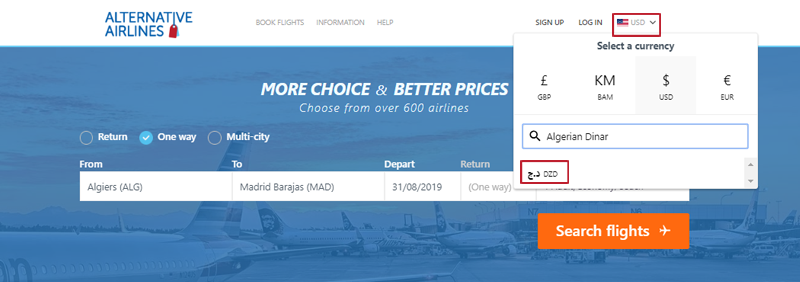 Alternative Airlines currency changer example