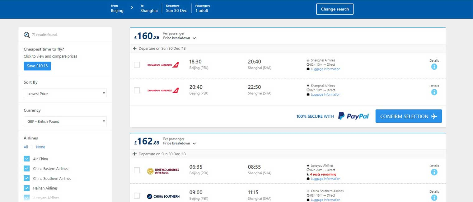 Alternative Airlines flight search result from Beijing to Shanghai