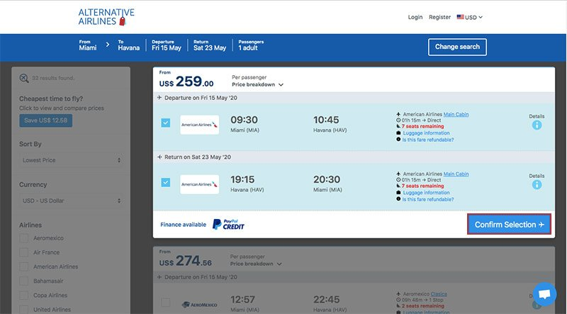 Alternative Airlines American Airlines Selected MIA–HAV 15/05/20–23/05/20