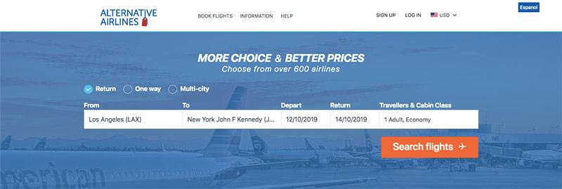 Alternative Airlines Flight Search LAX–JFK 12/10/19–14/10/19
