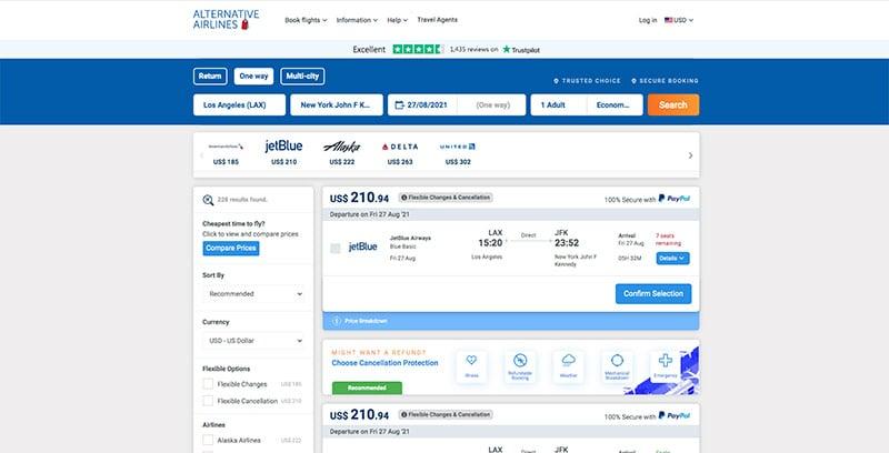 Alternative Airlines Flight Search Results LAX-JFK 28.08.21