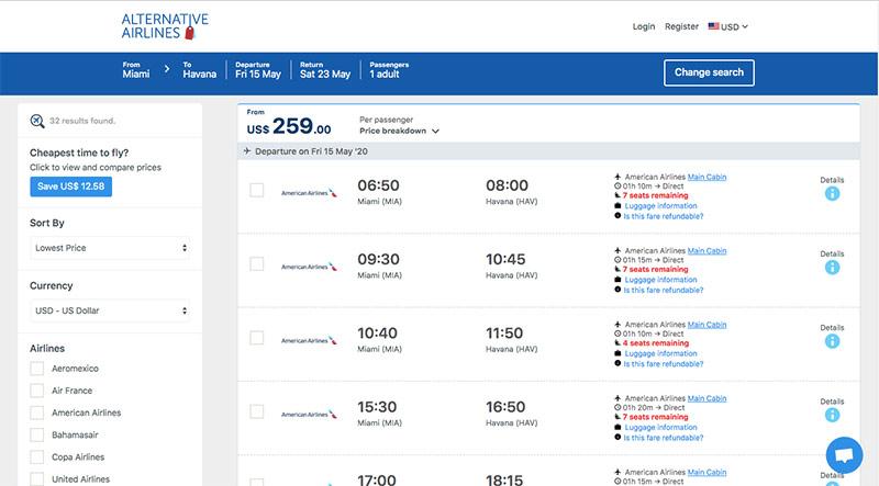 Alternative Airlines Search Results MIA–HAV 15/05/20–23/05/20