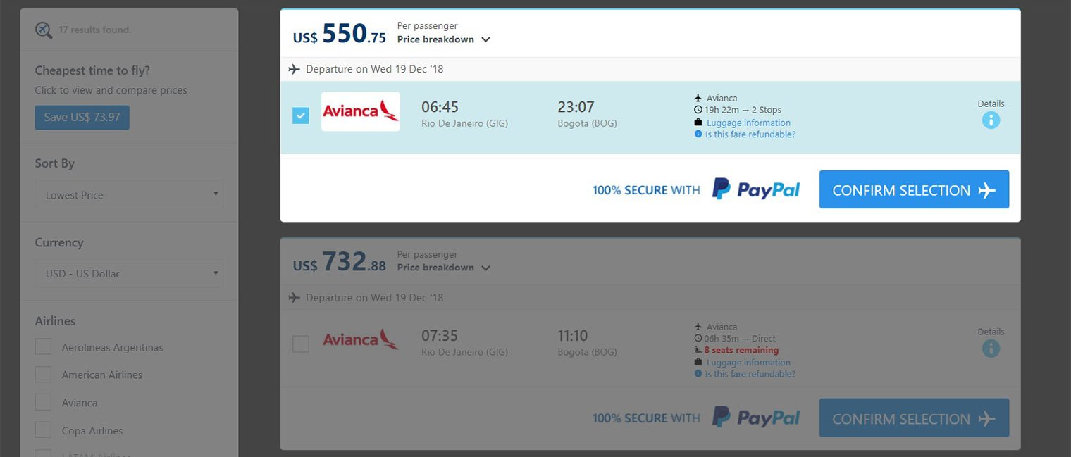 Step 2 Flight Selection page
