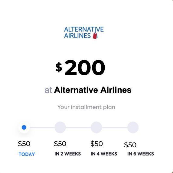 Alternative Airlines QuadPay installment example